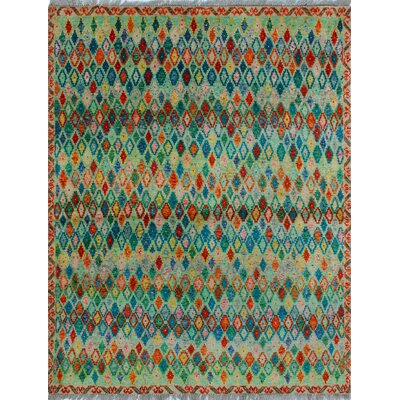 One-of-a-Kind Millender Asabi Hand-Knotted Wool Green Area Rug