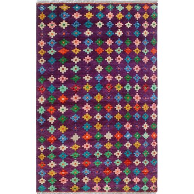 One-of-a-Kind Millender Viviana Hand-Knotted Wool Purple Area Rug