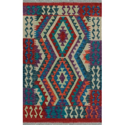 One-of-a-Kind Kratzerville Kilim Panyin Hand-Woven Wool Red Area Rug