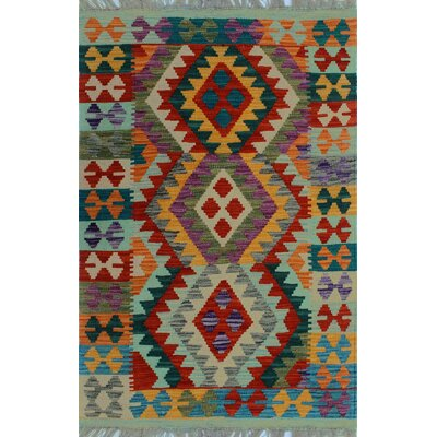 One-of-a-Kind Kratzerville Kilim Atsu Hand-Woven Wool Red Area Rug