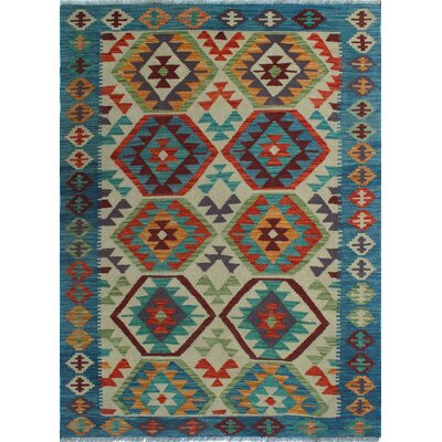 One-of-a-Kind Kratzerville Kilim Joseph Hand-Woven Wool Ivory Area Rug