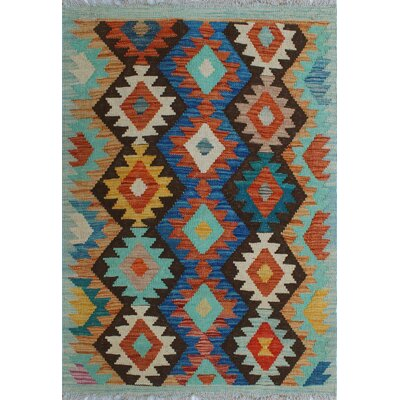 One-of-a-Kind Kratzerville Kilim Khamisi Hand-Woven Wool Blue Area Rug