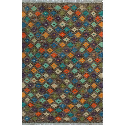One-of-a-Kind Kratzerville Kilim Bunmi Hand-Woven Wool Brown Area Rug
