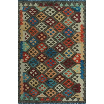 One-of-a-Kind Kratzerville Kilim Daniel Hand-Woven Wool Chocolate Area Rug