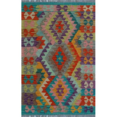 One-of-a-Kind Kratzerville Kilim Hamadi Hand-Woven Wool Orange Area Rug