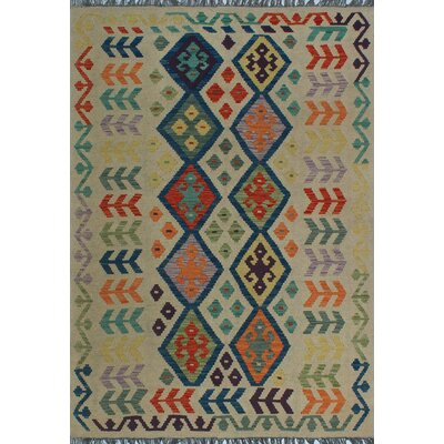 One-of-a-Kind Kratzerville Kilim Themba Hand-Woven Wool Ivory Area Rug