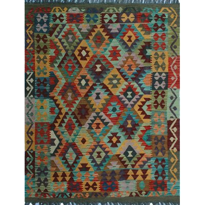 One-of-a-Kind Kratzerville Kilim Mwanawa Hand-Woven Wool Rust Area Rug