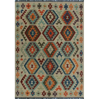 One-of-a-Kind Kratzerville Kilim Ode Hand-Woven Wool Ivory Area Rug