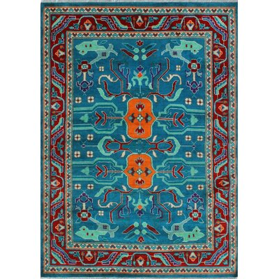 One-of-a-Kind Millender Musa Hand-Knotted Wool Teal Blue Area Rug