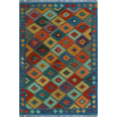 One-of-a-Kind Kratzerville Kilim Madu Hand-Woven Wool Red Area Rug