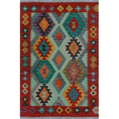 One-of-a-Kind Kratzerville Kilim Kizza Hand-Woven Wool Orange Area Rug