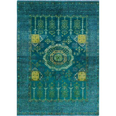 One-of-a-Kind Millender Kesi Hand-Knotted Wool Green Area Rug