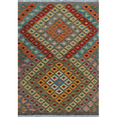 One-of-a-Kind Kratzerville Kilim Chiumbo Hand-Woven Wool Brown Area Rug