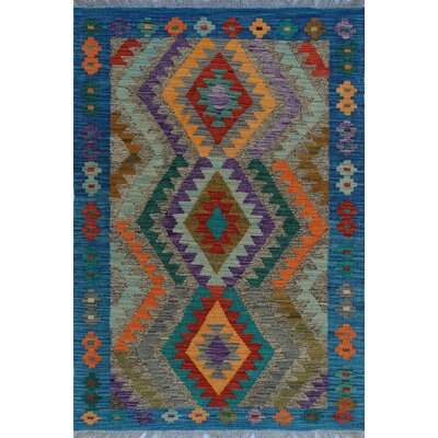 One-of-a-Kind Kratzerville Kilim Thandiwe Hand-Woven Wool Red Area Rug