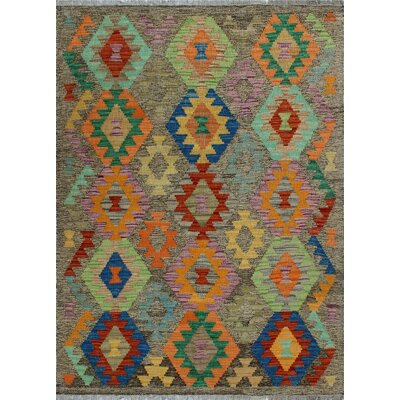 One-of-a-Kind Kratzerville Kilim Akua Hand-Woven Wool Brown Area Rug
