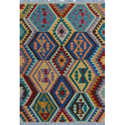 One-of-a-Kind Kratzerville Kilim Mosi Hand-Woven Wool Orange Area Rug