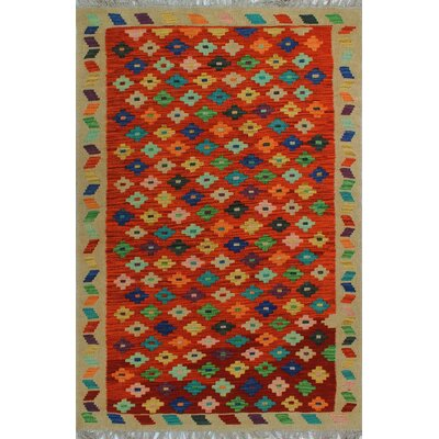One-of-a-Kind Kratzerville Kilim Oliver�Hand-Woven Wool Rust Area Rug