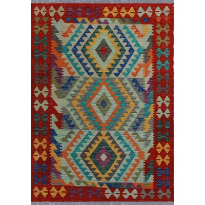 One-of-a-Kind Kratzerville Kilim Jack Hand-Woven Wool Blue Area Rug