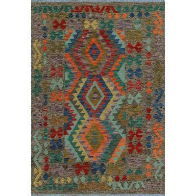 One-of-a-Kind Kratzerville Kilim Mashavu Hand-Woven Wool Brown Area Rug