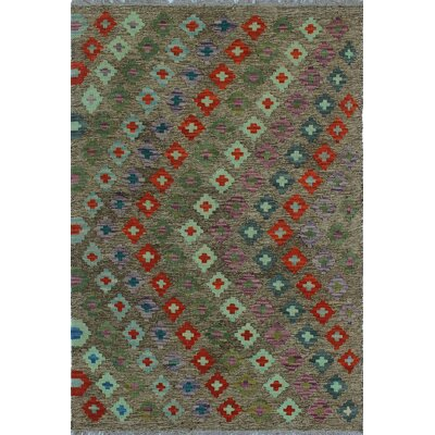 One-of-a-Kind Kratzerville Kilim Harry Hand-Woven Wool Brown Area Rug