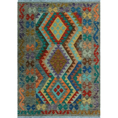 One-of-a-Kind Kratzerville Kilim Zesiro Hand-Woven Wool Green Area Rug