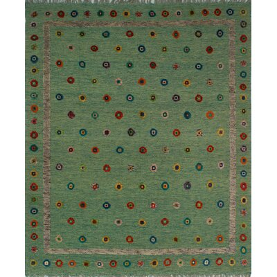One-of-a-Kind Milliron Kilim Shani Hand-Woven Wool Green Area Rug