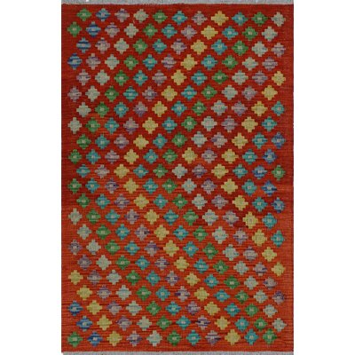 One-of-a-Kind Kratzerville Kilim Charlie Hand-Woven Wool Red Area Rug