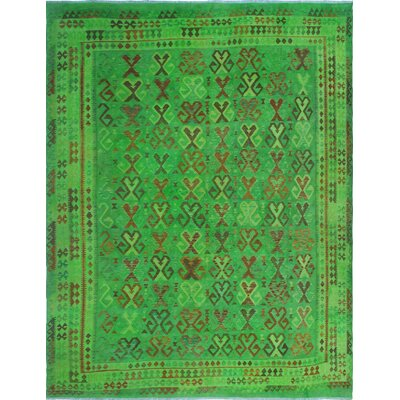 One-of-a-Kind Millis Overdyed Kilim Abeje Hand-Woven Wool Green Area Rug
