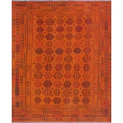 One-of-a-Kind Millis Overdyed Kilim Noah Hand-Woven Wool Orange Area Rug