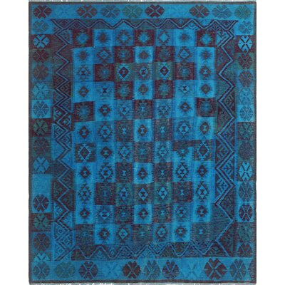 One-of-a-Kind Millis Overdyed Kilim Amya Hand-Woven Wool Blue Area Rug