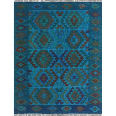 One-of-a-Kind Millis Overdyed Kilim Cecilia Hand-Woven Wool Blue Area Rug