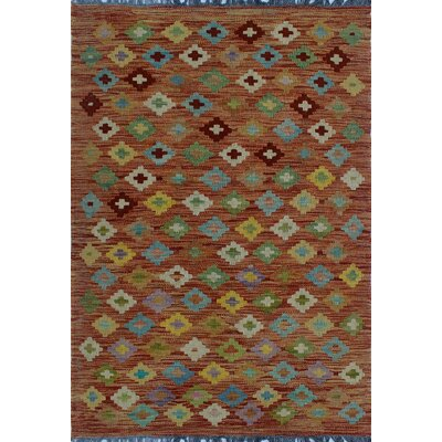One-of-a-Kind Kratzerville Kilim Dylan�Hand-Woven Wool Rust Area Rug