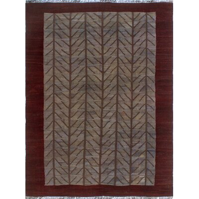 One-of-a-Kind Millis Overdyed Kilim Obasi Hand-Woven Wool Gray Area Rug