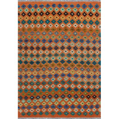One-of-a-Kind Kratzerville Kilim Riley Hand-Woven Wool Orange Area Rug