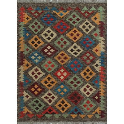 One-of-a-Kind Kratzerville Kilim Finley Hand-Woven Wool Chocolate Area Rug