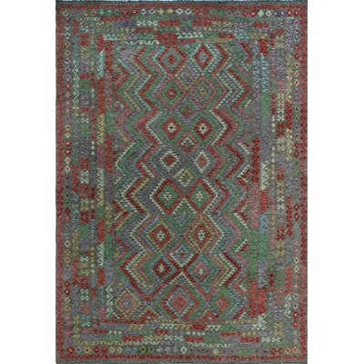 One-of-a-Kind Kratzerville Kilim Frederick Hand-Woven Wool Brown Area Rug