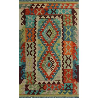 One-of-a-Kind Kratzerville Kilim Jayden�Hand-Woven Wool Ivory Area Rug