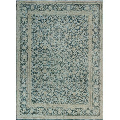 One-of-a-Kind Millner Distressed Perla Hand-Knotted Wool Blue Area Rug