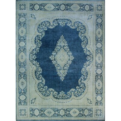 One-of-a-Kind Millner Distressed Nwabudike Hand-Knotted Wool Blue Area Rug