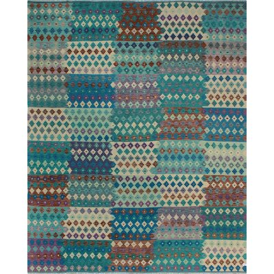 One-of-a-Kind Kratzerville Kilim Leon�Hand-Woven Wool Green Area Rug