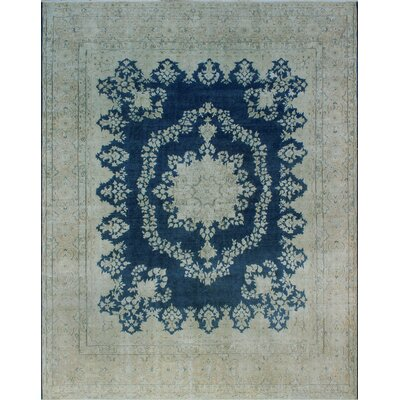 One-of-a-Kind Millner Distressed Oni Hand-Knotted Wool Blue Area Rug