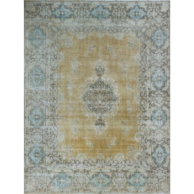 One-of-a-Kind Millner Distressed Aduke Hand-Knotted Wool Gold Area Rug