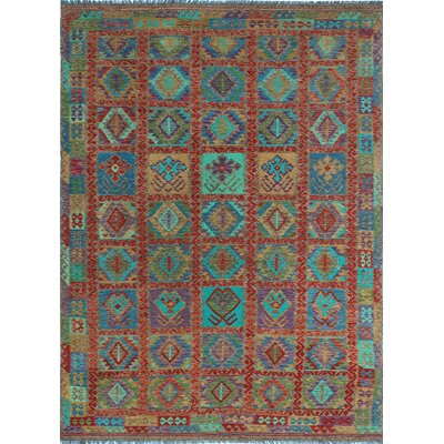 One-of-a-Kind Kratzerville Kilim Jamie Hand-Woven Wool Red Area Rug