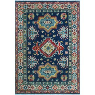 One-of-a-Kind Wendland Akono Hand-Knotted Wool Blue Area Rug