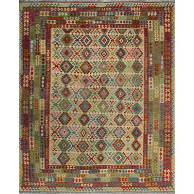 One-of-a-Kind Kratzerville Kilim Seth�Hand-Woven Wool Ivory Area Rug
