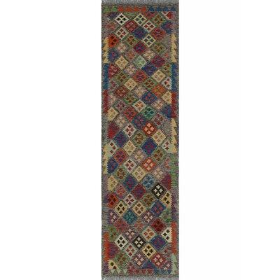 One-of-a-Kind Kratzerville Kilim Matthew�Hand-Woven Wool Blue Area Rug