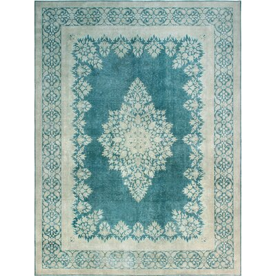 One-of-a-Kind Millner Distressed Cindy Hand-Knotted Wool Blue Area Rug