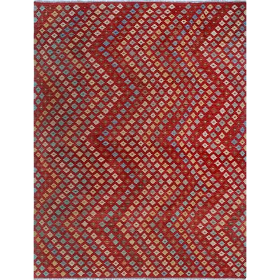 One-of-a-Kind Kratzerville Kilim Owen Hand-Woven Wool Red Area Rug