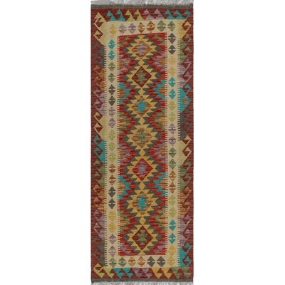 One-of-a-Kind Kratzerville Kilim Luca�Hand-Woven Wool Gold Area Rug