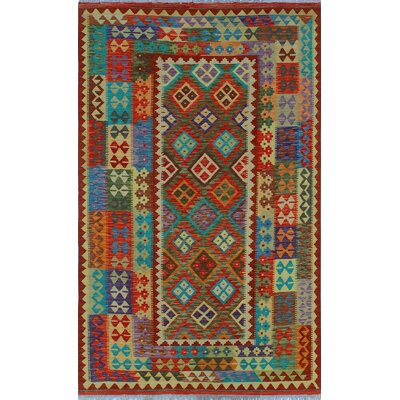 One-of-a-Kind Kratzerville Kilim Nathan Hand-Woven Wool Red Area Rug